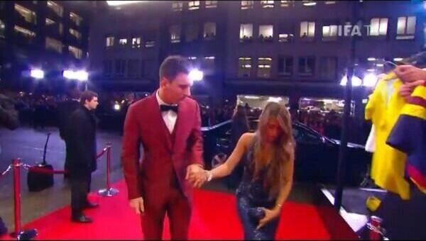 The crowd screamed Ronaldo! Ronaldo! Ronaldo! as Messi and his girlfriend arrived at the Ballon dOr