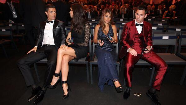 Lionel Messi & Cristiano Ronaldo sitting together with their spouses at the Ballon dOr gala