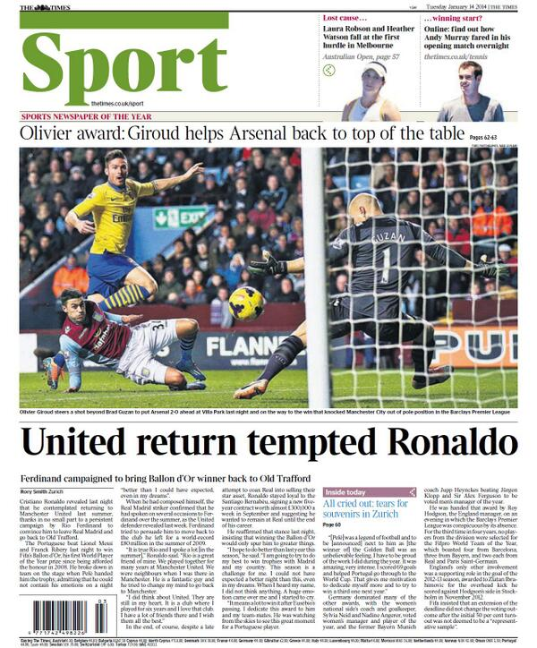 Ballon dOr winner, Real Madrids Cristiano Ronaldo admits being tempted by Man United in the summer [Times]