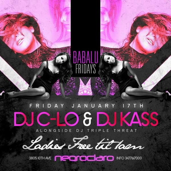 Why not This friday negroclaro lounge w @THEDJCLO @DjkassNyc @TheRusmeister @alsparxx @ipartyhardent @JRDABOSS http://t.co/GLw1pycBrg