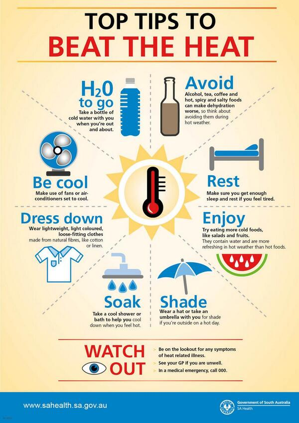 Simple health tips from @SAhealth for the #heatwave http://t.co/UnllsjUyu7