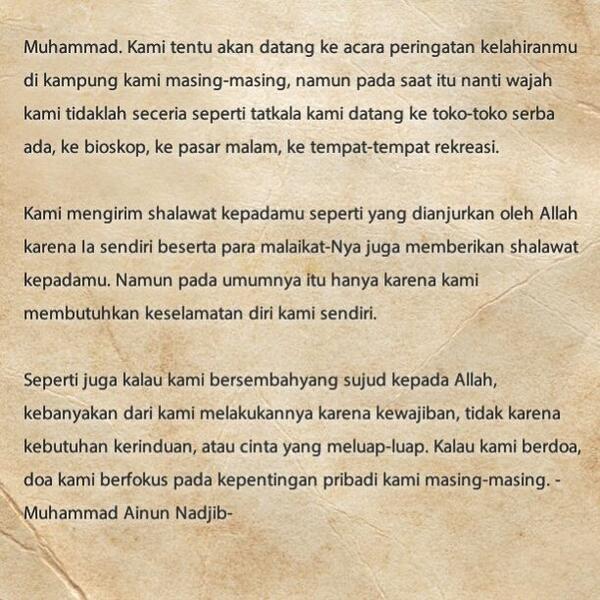 Surat Kepada Kanjeng Nabi, -Muhammad Ainun Nadjib http://t.co/VNvRqxXAjc