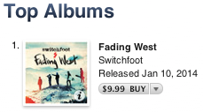 FADING WEST is officially the top album on iTunes! https://t.co/9f58LSgBFj @switchfoot
