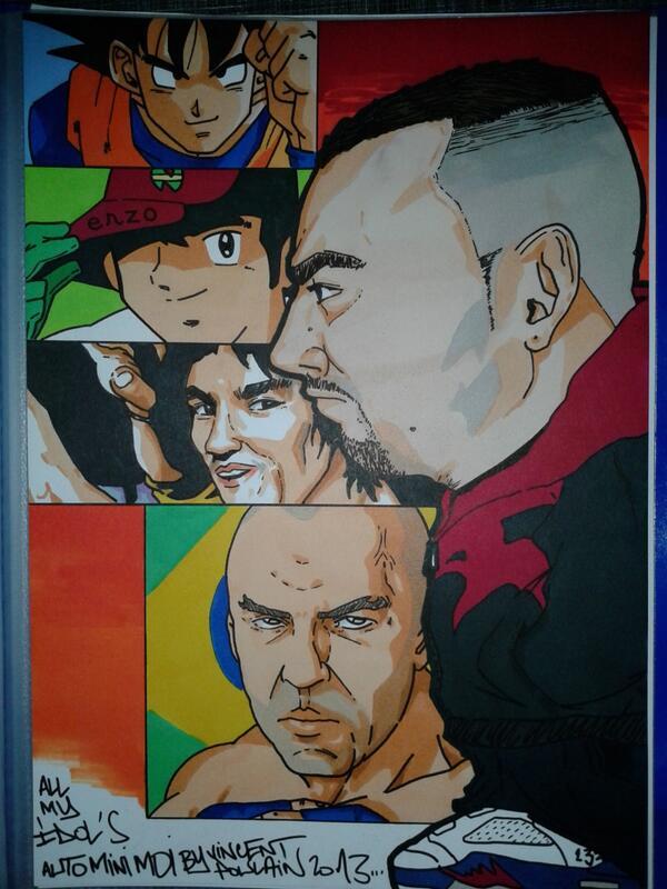 Mes passions @DragonBallZNews @CaptainTsubasa @BruceLeeLegacy et @wandfc dans mon dessin Drawing by @Vincenthury