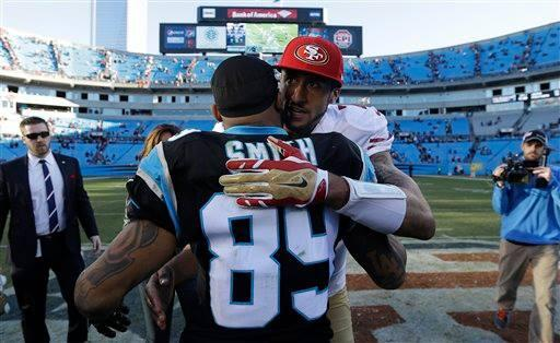 '@NFL_AM: #CaptionThis photo of @Kaepernick7 and @SteveSmithWR from Sunday? http://t.co/nObK0jjp5a' Respect the hell out of his game!!!!