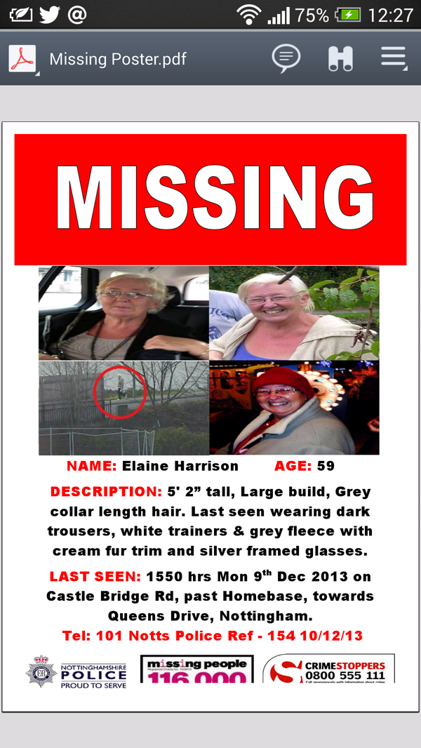Pls RT to help @AndyHarrison80 find his missing mum Elaine #Missing - please cont to RT & help us #FindElaine http://t.co/wXtmXGo4UM