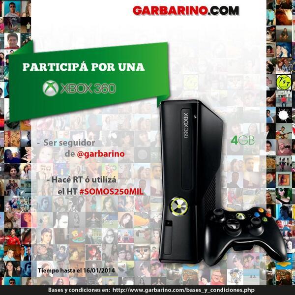 Alcanzamos los 250.000 seguidores y queremos festejarlo con vos! Hacé RT y participá por 1 Xbox 360 Slim #Somos250mil http://t.co/Ow6WfSBF5w