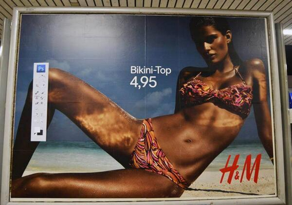 "Brilliant. ""@TimvanAsch: Unknown artist pasted the Photoshop toolbar on several posters of H & M in Germany. http://t.co/3PiAv2sLzv"""
