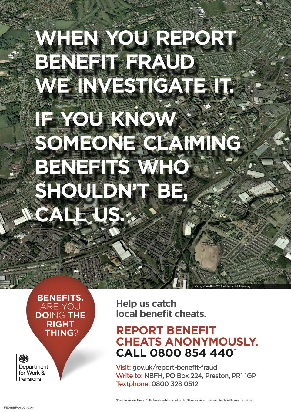 Dwp Press Office On Twitter Poster When You Report Benefit Fraud We Investigate It Report Benefits Cheats Anonymously Http T Co 42bvmvtfsa Http T Co Ortc2pxl8p