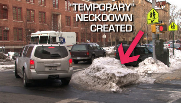 What's a #sneckdown? Unused street space, highlighted by snow: http://t.co/AAgMkVBBHT Send us your pics today, NYC! http://t.co/tpVZjqTk28