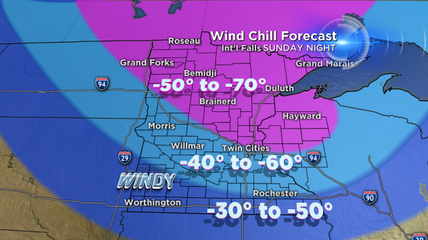 Stupid-cold wind chills coming by Sunday night & Monday AM. Stick with @WCCOWeather for updates http://t.co/KoLcSKGOQq