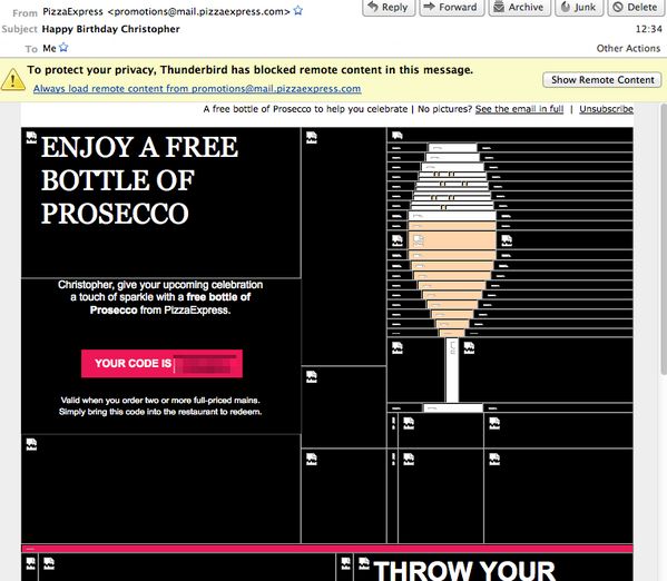 Clever! RT @chrismear: Nice work, person who writes the HTML for Pizza Express promotional emails. http://t.co/L3dOSVSS4G