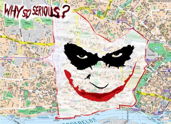 "#batman! ""@GoaGoaZwerg: Why So serious? #Gefahrengebiet http://t.co/FMU9fD1SYe"""