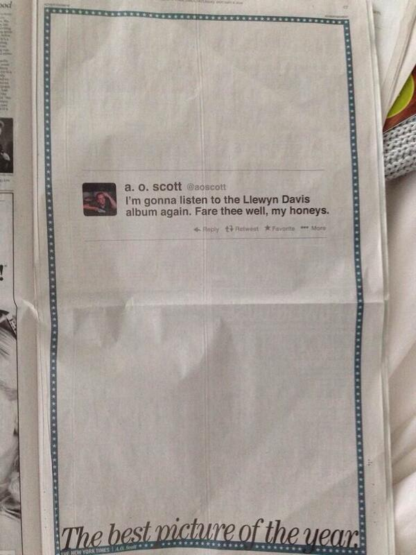 A full page ad buy in @nytimes that contains one thing: a tweet ... via @kirstinestewart http://t.co/GrvLSqqF34