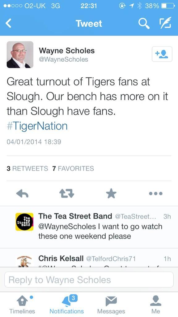 For those that haven't seen it yet the tweet from @TelfordTigers owner @WayneScholes #rude #disrespectful http://t.co/DJVOjjNuxZ