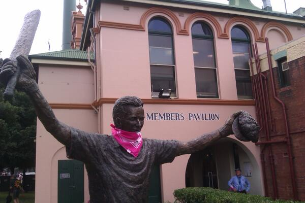 Everyone is into the spirit of Jane McGrath Day #PinkTest #Ashes http://t.co/UZcpx3QmCE