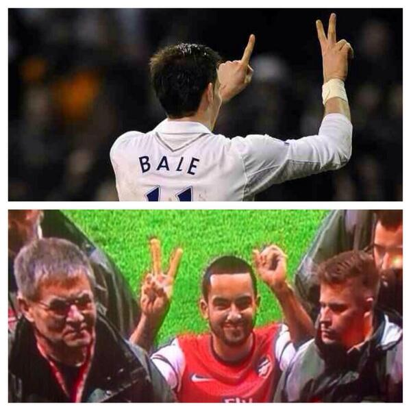 Just like Theo Walcott, no fuss! Gareth Bale showed Arsenal fans the score last season...