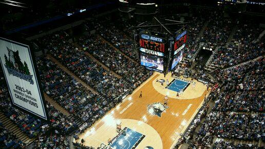 View from the catwalk high about the @targetcentermn floor! http://t.co/GskAQI1ZIm