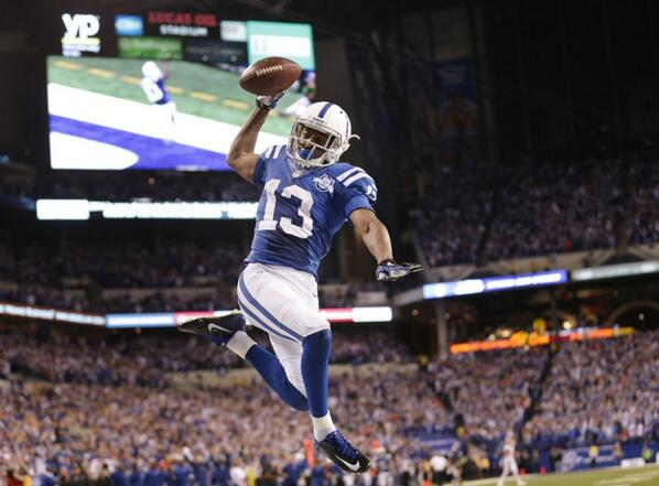 Here is the photo on the sports front tomorrow: the game-winning TD (via @bobscheer). #IndyStarSports. #Colts http://t.co/NuyFgXurWE