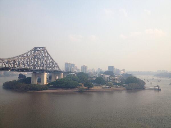 Smoke is filing up the Brisbane airspace, so crazy http://t.co/nW3jiyDMZz