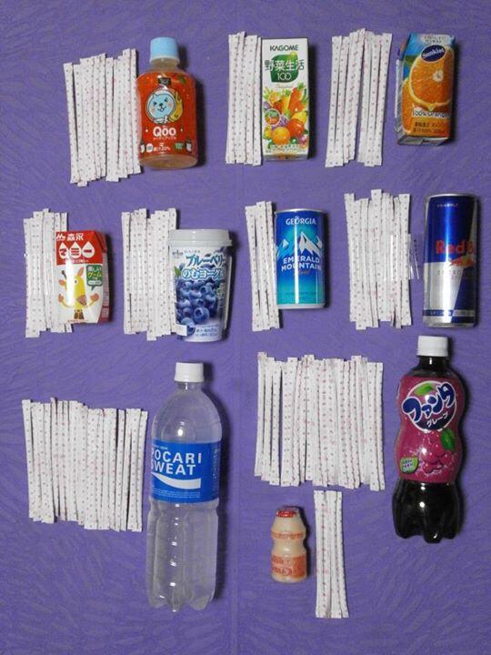 いつも飲んでるドリンクにスティック何本分の砂糖が入っているか。 pic.twitter.com/oDua80flD6