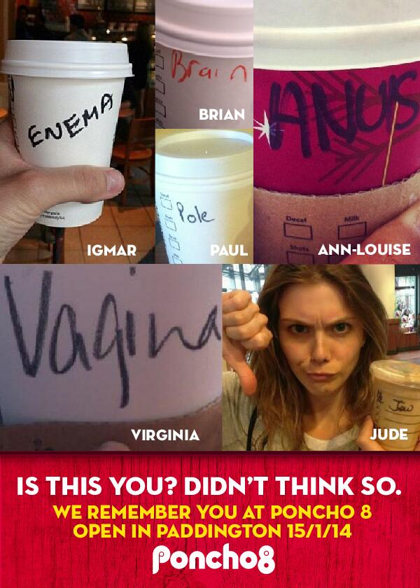 ...because we know your name is Virginia, not Vagina...    #PonchoCoffee #Paddington http://t.co/yhryISYPTQ