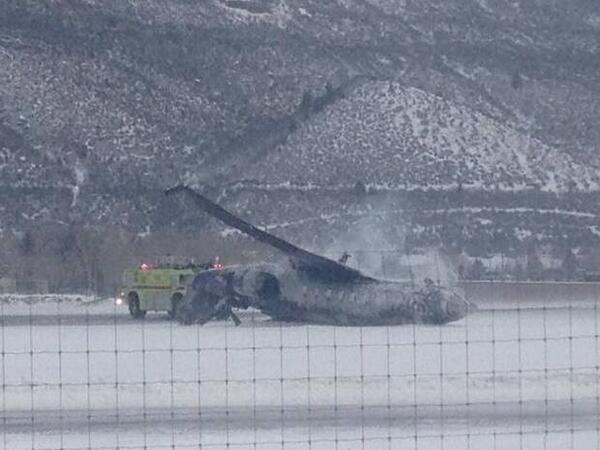 One dead as small jet crashes on runway at Aspen airport