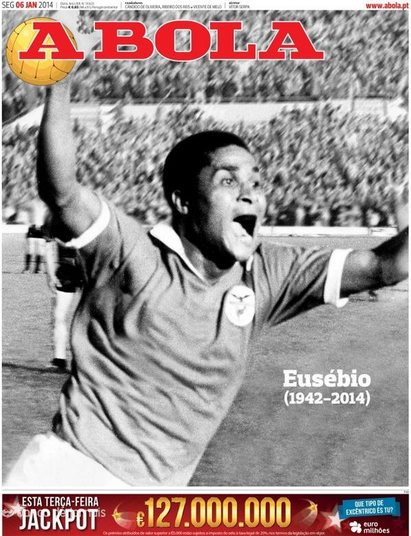 A Bolas front page marking the death of Eusebio