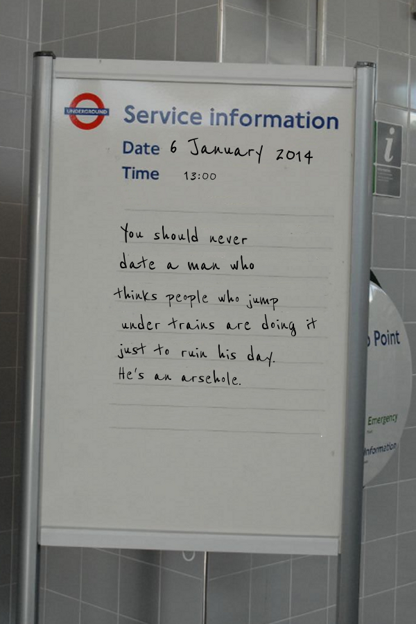 "Wise words. ""@theguyliner: Important notice for anybody delayed on the Victoria line this morning – http://t.co/hYlrIgiFTV"""