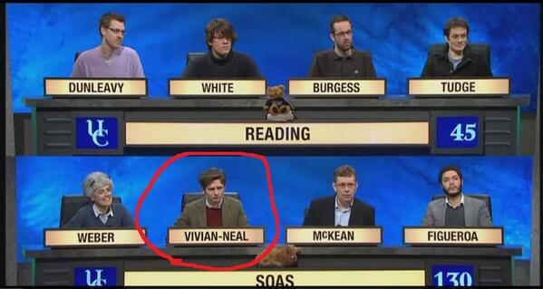 One of the contestants on University Challenge tonight is two members of Scumbag College. http://t.co/2If09x1U9W