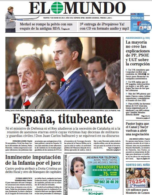 El Mundo adelanta en portada la inminente imputación de la Infanta BdVS9S4CYAAQsbu