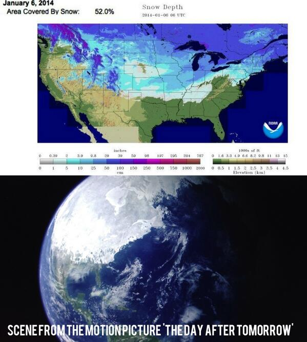Anthony Quintano on Twitter Current US snow cover map compared