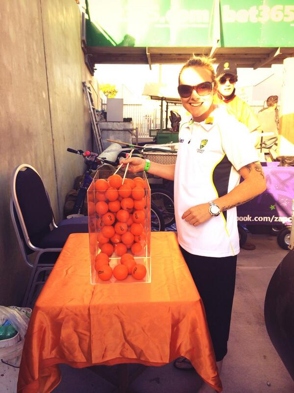 .@sarahjanecoyte getting in some practise before taking on Mitch Marsh in the chopstick challenge at the #Furnace http://t.co/ts1MVuoW4N
