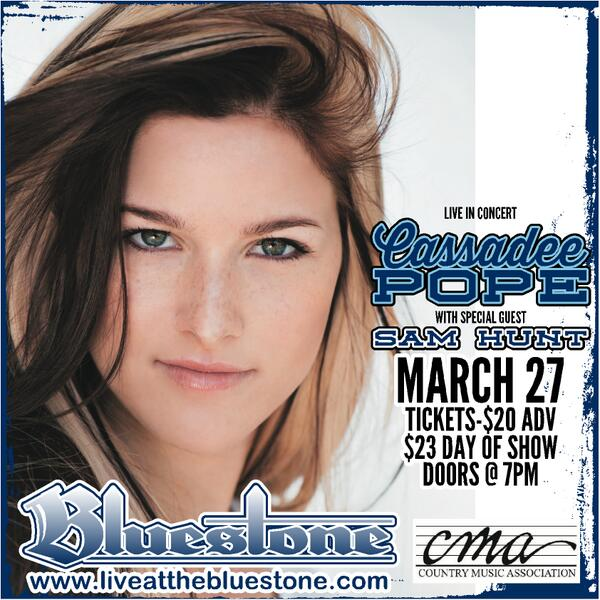 **Just Announced** @CassadeePope performs at The Bluestone March 27th, with special guest @SamHuntMusic! http://t.co/DAHUxXFjHl