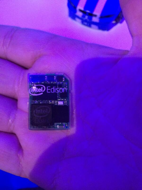 The Intel Edison SD card SoC is pretty excellent. Imagining the cluster use cases #ensmallify http://t.co/WHWWPRbBVP