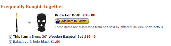 Amazon customers who bought this Bronx Baseball Bat, also bought.. wait, what?! http://t.co/iMFaKLKvHI