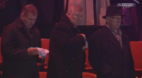 Bryan Robson & Fergie look funereal with hankerchiefs watching United lose from the stands