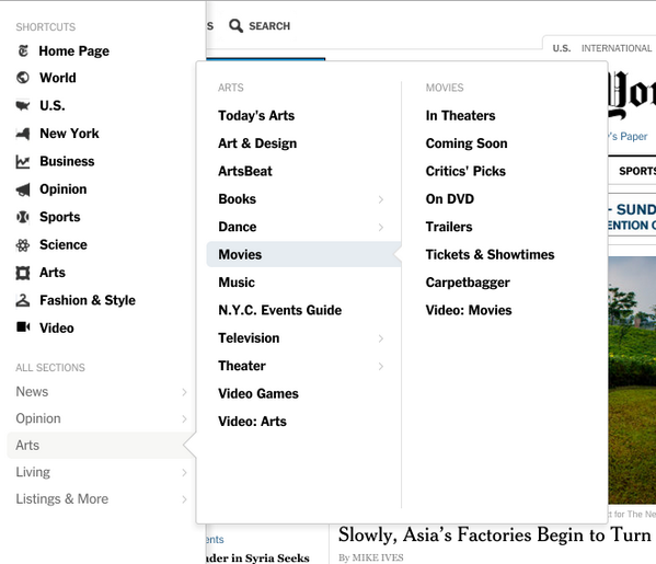 Eighth reaction to new @nytimes: Hamburger-button nav bar good; three-layer pull-down not so much. http://t.co/ww03b0RtuM