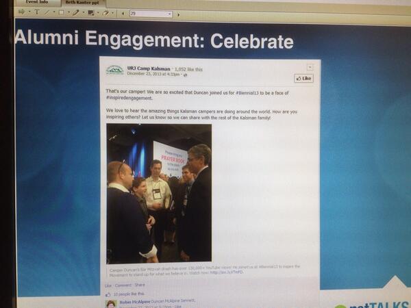 Nice example of celebrating #alumni by @URJCampKalsman shared by @kanter on #netTALKS webinar! http://t.co/vE06oozrlI