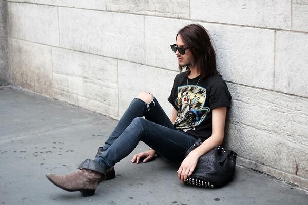 「クラッシュデニム」のかっこいい着こなし・コーディネート  ロックTに合わせて   #メンズファション #fashion