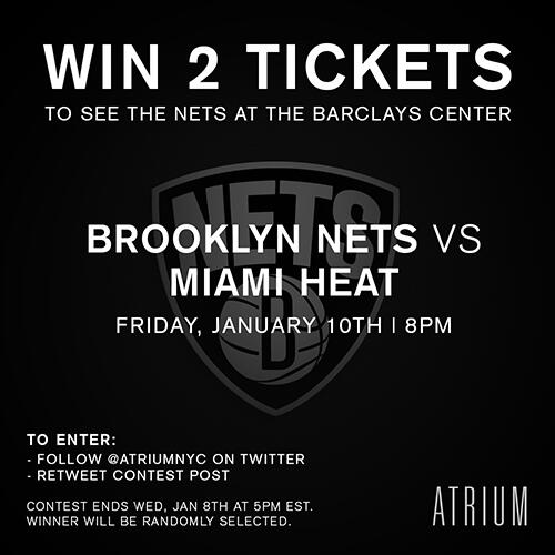 WIN 2 tix to the Nets vs Heat game on Jan 10th! FOLLOW & RETWEET to enter #AtriumxNets See pic for details http://t.co/Qjv9GXDalJ