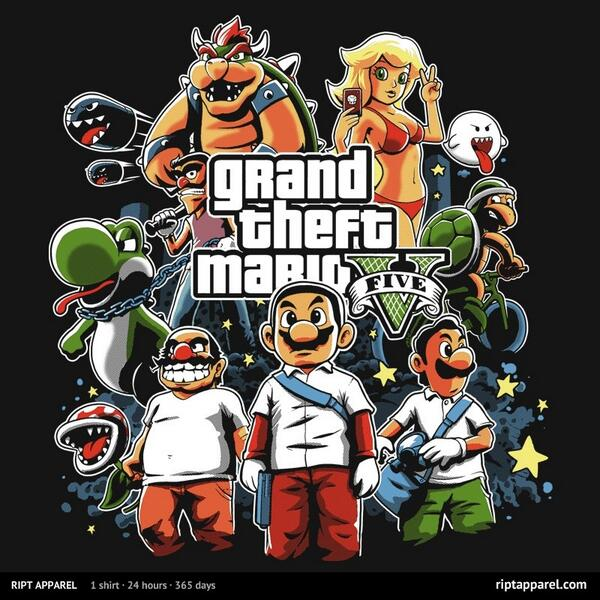 [SHIRT] Grand Theft Mario V http://t.co/s6KcYgyBC1 http://t.co/yXtFgoVdpX