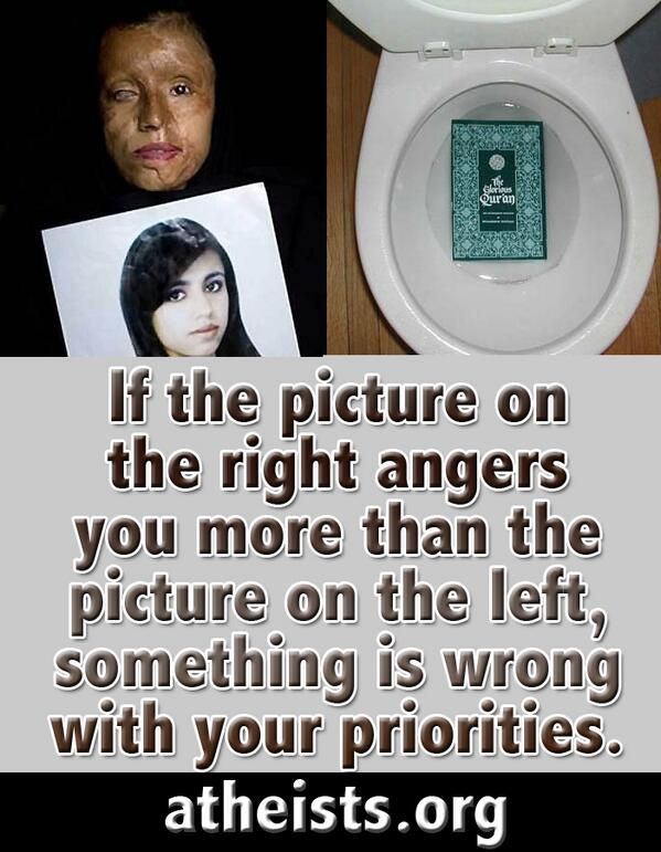 If the picture on the right angers you more than the picture on the left something is wrong with you #islamisbarbaric http://t.co/6AxUfSea1a