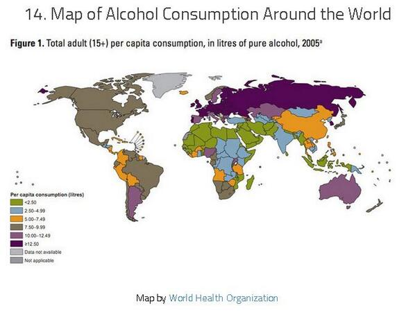 Wow, Russia. Fascinating map of alcohol consumption around the world: http://t.co/n2gpVX3iyd