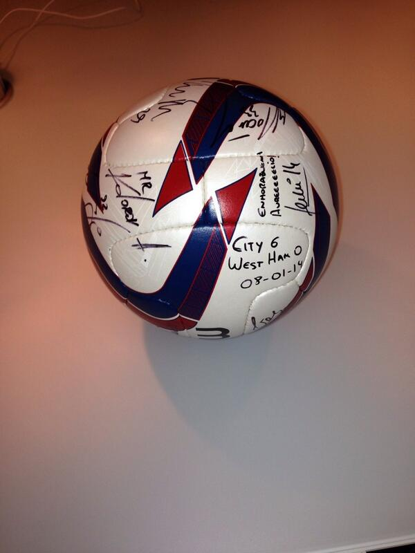 Alvaro Negredo posts a picture of the signed match ball, complete with Mr Kolarov