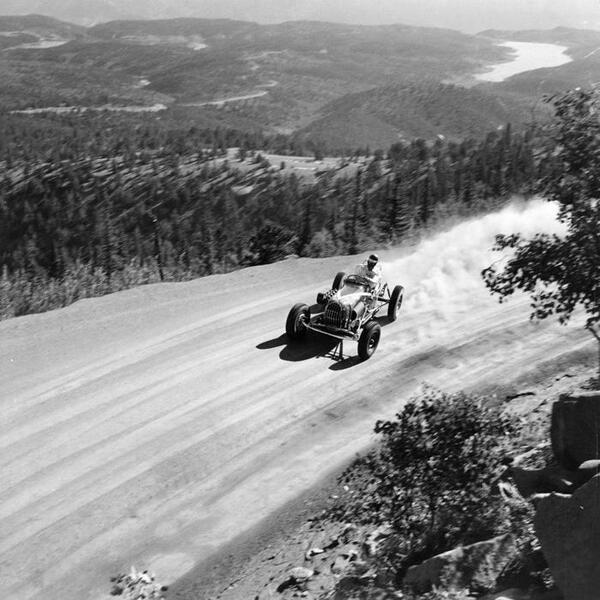 Bobby Unser Ascending Pikes Peak During The 1958 Hill
