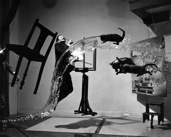@johncusack Too cool!Salvador Dali  'Dali Atomicus' by Philippe Halsman. 28 tries 2 get well timed pic @HistoryInPics http://t.co/6OKBm2N5LR