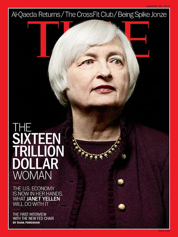 TIME magazine cover of new Fed chairman Janet Yellen