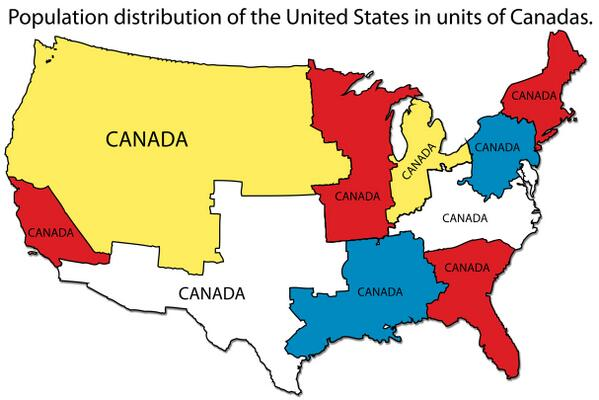 """I like the concept of """"Canadas"""" as a unit of measure. RT @Amazing_Maps USA population in units of Canada http://t.co/8AkZetJa01"""""""