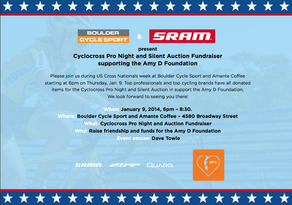 If you in Boulder tonight head over to @bldrcyclesport.  If you're not, get here and support the @AmyD_Foundation http://t.co/EWdFKxrmW5